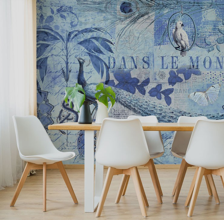 blue vintage peacock wallpaper in minimalist dining room