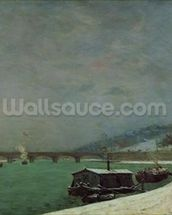 The Seine at the Pont dIena, Winter, 1875 (oil on canvas) wallpaper mural thumbnail
