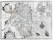 The County of Leinster with the City of Dublin Described, engraved by Jodocus Hondius (1563-1612), from Theatre of the Empire of Great Britain, pub. by John Sudbury and George Humble, 1611-12 (engraving) (b&w photo) mural wallpaper thumbnail