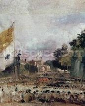 Celebration of the General Peace of 1814 in East Bergholt, 1814 (oil on canvas) mural wallpaper thumbnail