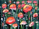 Red Flowers Oil Painting wall mural thumbnail