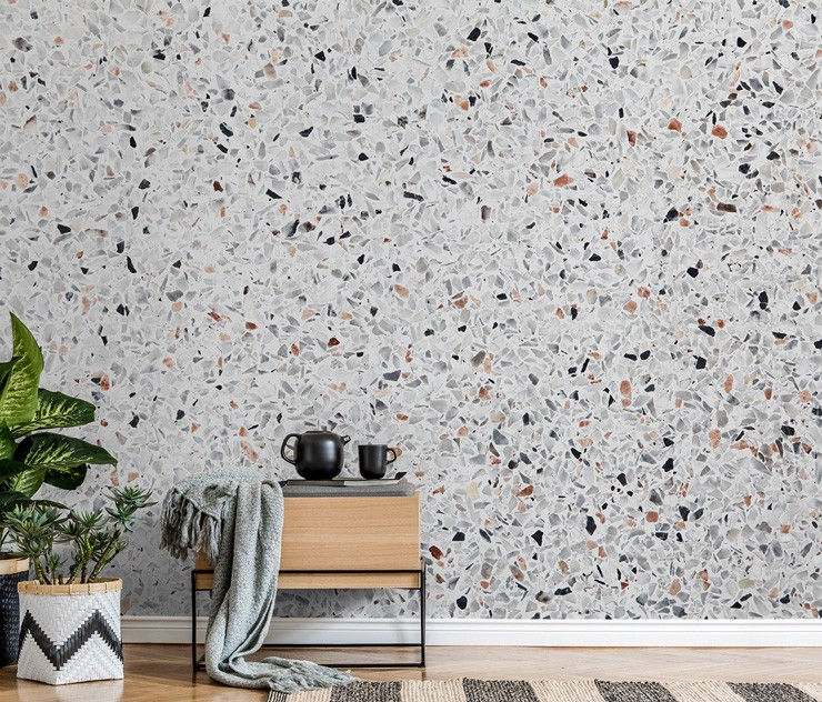 grey, brown and lack terrazzo wall mural in stylish, timeless interiors lounge