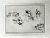 Study of Horsemen in Combat, 1503-4 (pen and ink on paper) wall mural thumbnail