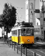 Yellow Tram in Lisbon wallpaper mural thumbnail