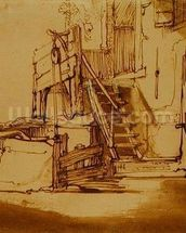 The well in front of the farmhouse (pen and brown ink and brown wash on paper) mural wallpaper thumbnail