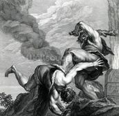 Cain slaying Abel, engraved by Johann Gottfried Seuter, c.1749 (etching) mural wallpaper thumbnail