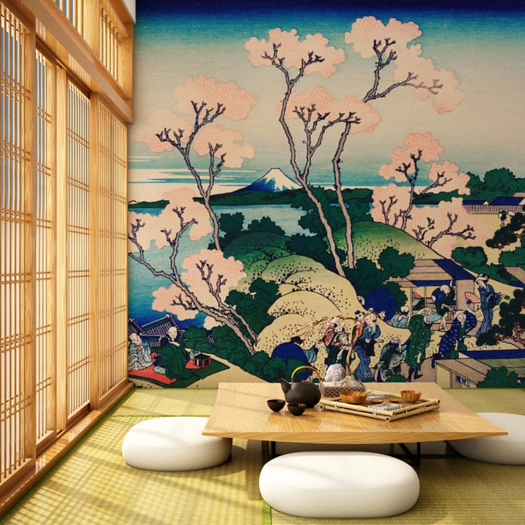 oriental art of a blossom landscape wallpaper in tatami room with low white round seating and table