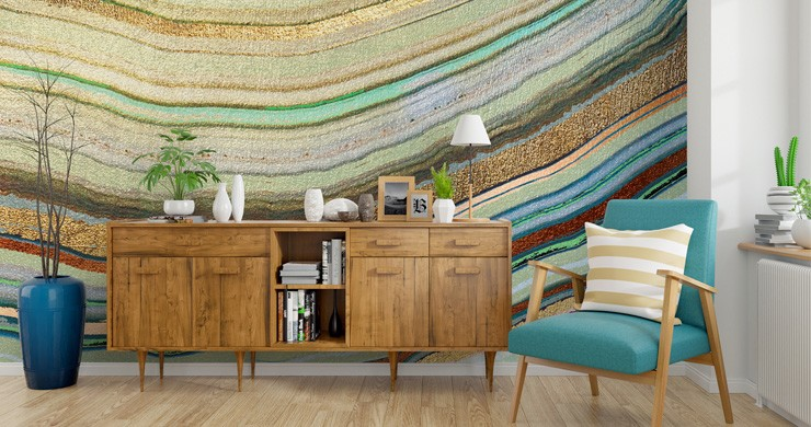agate wallpaper in mid-century style living room