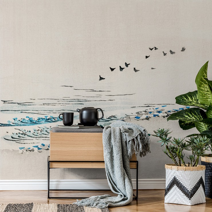 Beach Scenery wallpaper in living room