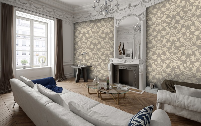 Silver damask traditional wallpaper