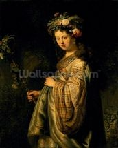 Saskia as Flora, 1634 (oil on canvas) wall mural thumbnail