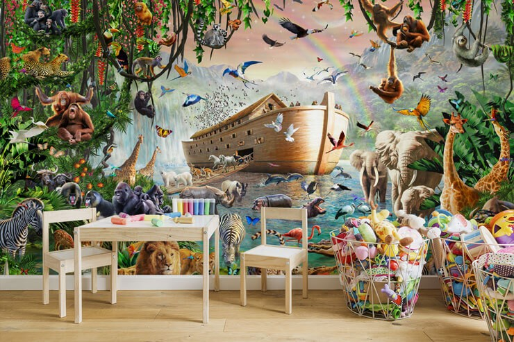 realistic noahs ark wallpaper in child's play room