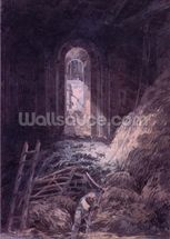 A Barn, Interior of the Ruined Refectory of St. Martins Priory, Dover, (w/c) wallpaper mural thumbnail