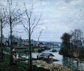 The Washing House, Pontoise Port-Marly, or The Wash-house, 1872 (oil on canvas) mural wallpaper thumbnail