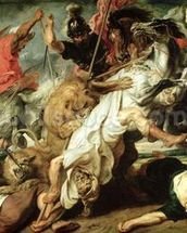 The Lion Hunt, 1621 (oil on canvas) mural wallpaper thumbnail