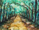 Watercolour Painting of a path lined with Trees wall mural thumbnail