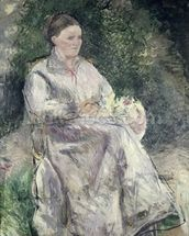 Portrait of Julie Velay, Wife of the Artist, c.1874 (oil on canvas) wall mural thumbnail