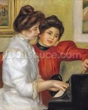 Yvonne and Christine Lerolle at the piano, 1897 (oil on canvas) wallpaper mural thumbnail