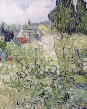 Mademoiselle Gachet in her garden at Auvers-sur-Oise, 1890 (oil on canvas) wall mural thumbnail