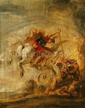 Bellerophon Riding Pegasus Fighting the Chimaera, 1635 (oil on panel) wallpaper mural thumbnail