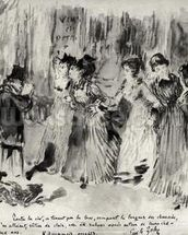 Illustration for LAssommoir (1876-77), by Emile Zola (1840-1902), page 453 (wash on paper) (b/w photo) wallpaper mural thumbnail