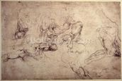W.61v Male figure studies (pencil on paper) wall mural thumbnail