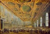 The Doge of Venice Thanking the Council, after 1775 (oil on canvas) wallpaper mural thumbnail