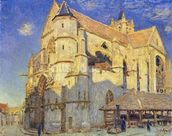The Church at Moret, Frosty Weather, 1893 (oil on canvas) mural wallpaper thumbnail