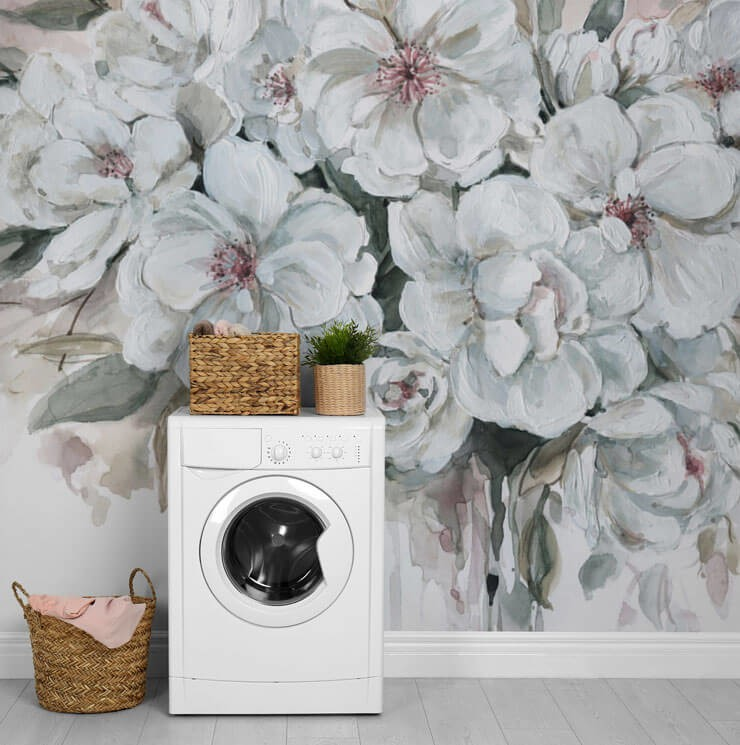 off-white, pink and grey floral painting wallpaper in laundry room