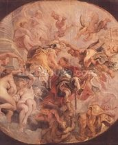 Minerva and Mercury Conduct the Duke of Buckingham (1592-1628) to the Temple of Virtue, before 1625 (oil on panel) mural wallpaper thumbnail