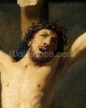 Christ on the Cross, detail of the head (oil on canvas) (detail of 154029) mural wallpaper thumbnail