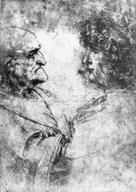 Study of a nutcracker man and beautiful youth, c.1500 (chalk on paper) wallpaper mural thumbnail