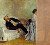 Monsieur and Madame Edouard Manet, 1868-69 (oil on canvas) mural wallpaper thumbnail