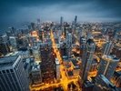 Chicago Skyline Dusk wall mural thumbnail