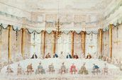 Festive Dinner Given to Celebrate the Marriage of Armand (1771-1847) Duke of Polignac to the Baroness Idalia of Neukirchen at Villa Gradenigo, Carpenedo, 1790 (w/c over graphite with pen & ink on paper) wall mural thumbnail