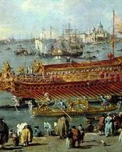 The Departure of the Bucentaur Towards the Venice Lido on Ascension Day, detail of the boat, 1766-70 (oil on canvas) wall mural thumbnail