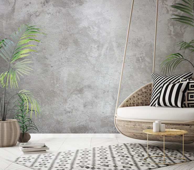 grey concrete wallpaper in boho room