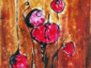 Abstract Painting with Buds in Shades of Red wall mural thumbnail