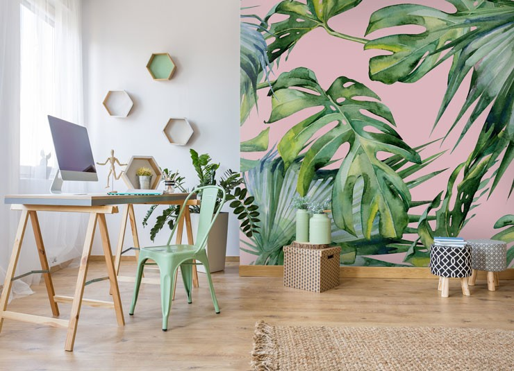pink jungle wallpaper in home office