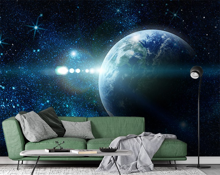 sci fi view of planet earth wallpaper in grey, black and green living room