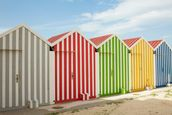 Striped Beach Huts wallpaper mural thumbnail