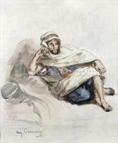 Seated Arab (w/c on paper) wall mural thumbnail