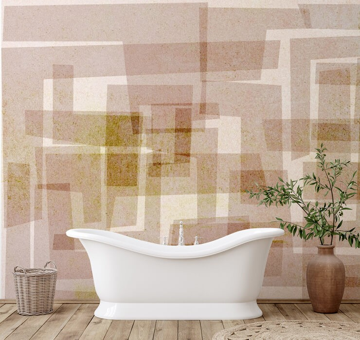 beige and brown rectangle pattern wallpaper in bathroom with white free standing tub, clay pot with green plant in