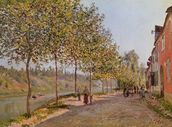 June Morning in Saint-Mammes, 1884 (oil on canvas) mural wallpaper thumbnail