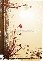Autumnal Flowers wall mural thumbnail