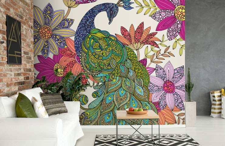 doodle style, colourful peacock wallpaper in trendy lounge with brick wall