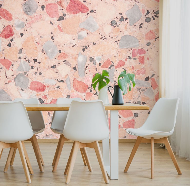 pink and blue terrazzo wallpaper