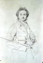 Portrait of Niccolo Paganini (1782-1840) 1819 (pencil on paper) wall mural thumbnail