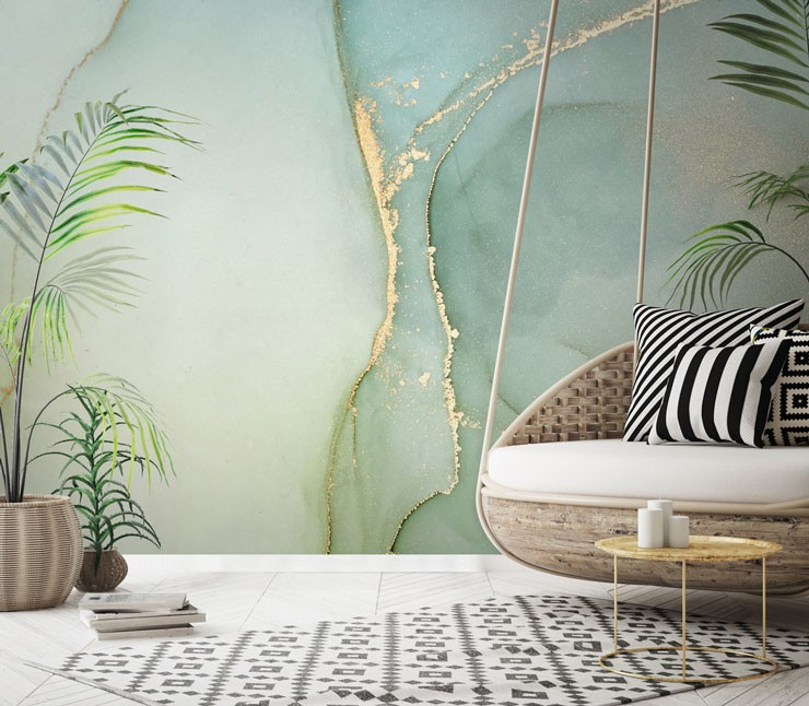 pale green marble with gold colour wall mural in boho style lounge