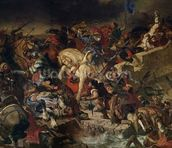 The Battle of Taillebourg, 21st July 1242, 1837 (oil on canvas) wall mural thumbnail
